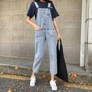 牛仔背帶褲女秋新款韓國復古高腰寬鬆減齡九分褲氣質顯瘦長褲 快速出貨