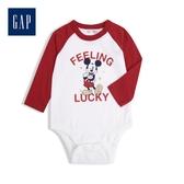 Gap嬰兒 棉質舒適長袖包屁衣 524198-光感亮白