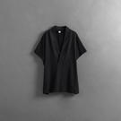 Queen Shop【01096903】V領造型和服風格素面黑色上衣 1/2*現+預*