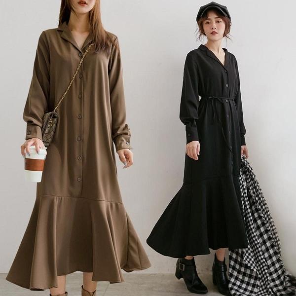 MIUSTAR 翻領排釦綁帶魚尾傘襬雪紡洋裝(共2色)【NH2211】預購