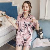 冰絲睡衣女夏季兔子短袖兩件套裝韓版清新寬鬆時尚甜美 DN11722【衣好月圓】