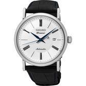 SEIKO 精工 Premier 系列超薄機械錶-白/40mm 4R35-01C0P(SRPA17J2)