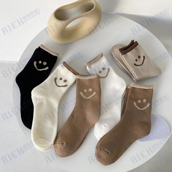 可愛笑臉毛圈襪秋冬季日系加厚加絨保暖襪子女中筒月子襪