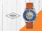 【時間道】FOSSIL都會休閒機械鏤空腕錶 /藍面金刻橘棕皮帶 (ME3159)免運費