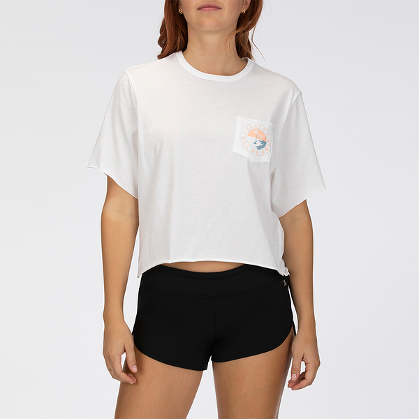 Hurley W TAKE ME AWAY POCKET CREW WHITE T恤-(白)