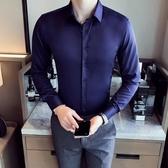 帥氣正韓純色簡約免燙男士商務長袖素面襯衫 修身青年潮 快速出貨