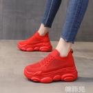 老爹鞋 女鞋老爹鞋女ins潮春季新款韓版透氣學生休閒紅色鬆糕運動鞋 韓菲兒