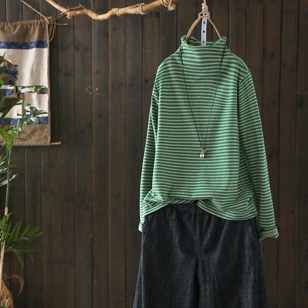 棉質長袖T恤半高領條紋內搭衫上衣/設計家Y4959