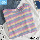 【V2968】shiny藍格子-繽紛色彩.彩條紋圓領寬鬆短袖上衣