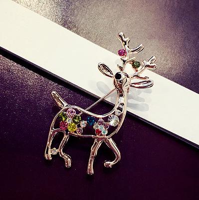 聖誕麋鹿珍珠水晶胸花 裝飾滿鑽