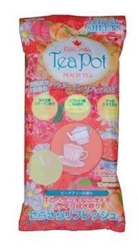 【福利品】PURE SMILE Tea Pot 蜜桃茶香爽身粉濕巾 隨身包(10抽)