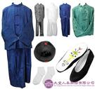 【大堂人本】中式男性壽衣 五件七層 長袍馬掛(蠶絲) 藍色組合。