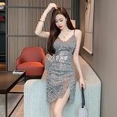 2021年夏季氣質時尚亮片吊帶裙外穿修身顯瘦包臀緊身御姐風裙子