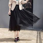 ★韓美姬★中大尺碼~高腰大擺網紗半身裙(XL~5XL)