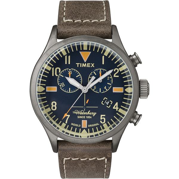 【TIMEX】天美時Waterbury系列 雙眼計時腕錶(褐色 TXT2P84100)