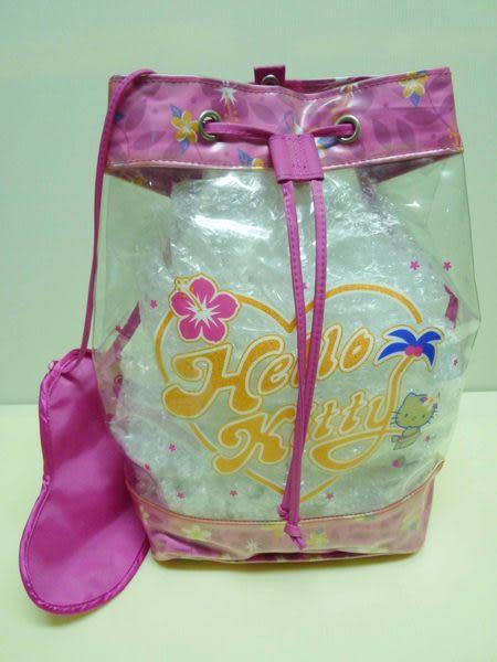 【震撼精品百貨】Hello Kitty 凱蒂貓~防水透明後背包『夏威夷扶桑花』