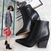 {丁果時尚}大尺碼女鞋34~43►簡約側拉鍊高跟尖頭短靴*2色