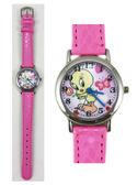 【卡漫城】Tweety 兒童錶 ㊣版 皮革 粉紅 崔蒂 小黃鳥 金絲雀 繡花錶帶 卡通錶 手錶  女錶
