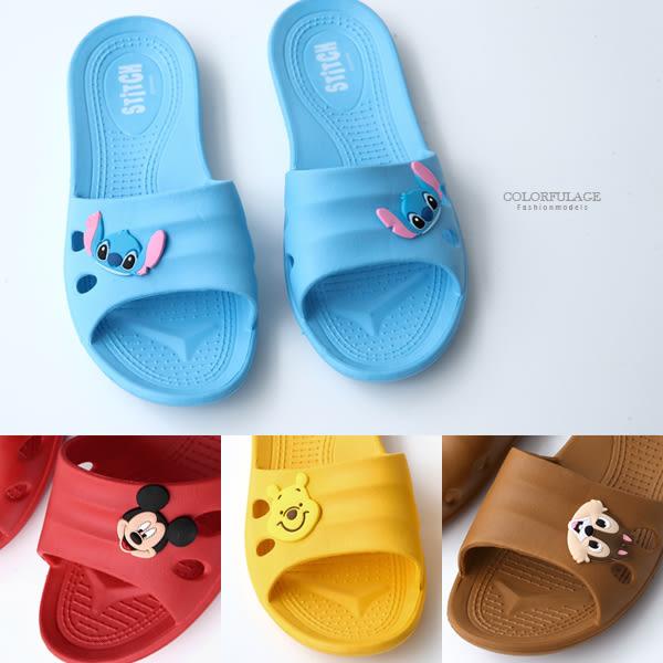 拖鞋 迪士尼居家室內拖鞋  可愛頭飾米奇 奇奇蒂蒂 小熊維尼 史迪奇 柒彩年代【NSC7】