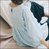 棉麻衫  質感幾何刺繡娃娃棉麻衫   四色-小C館日系