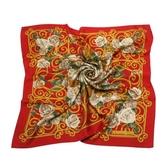 Christian Dior 華麗粉色玫瑰花(大)領巾(紅色) 179018-3