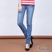 Victoria 低腰繡花剪接小直筒褲-女-中藍-VW2181