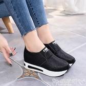樂福鞋 單鞋女2020春季新款樂福鞋女鞋韓版學生一腳蹬厚底內增高媽媽鞋女 嬡孕哺