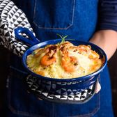 北歐手柄陶瓷碗創意帶把焗飯碗早餐碗家用湯碗拉面碗沙拉碗圓深盤【櫻花本鋪】