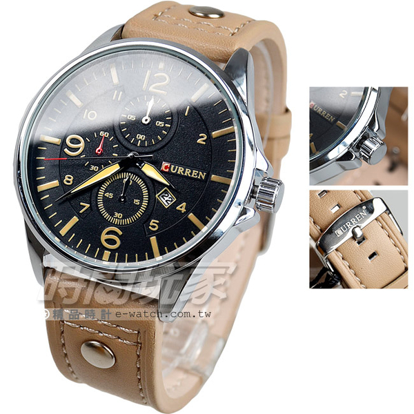 CURREN 城市設計 三眼造型 日期顯示 黑x咖啡色 皮帶 學生錶 數字錶 男錶 卡瑞恩 CU8164黑卡