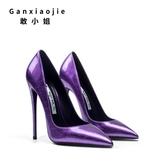 恨天高 敢小姐歐美女細跟尖頭淺口性感夜場單鞋漆皮紫色女鞋【快速出貨】