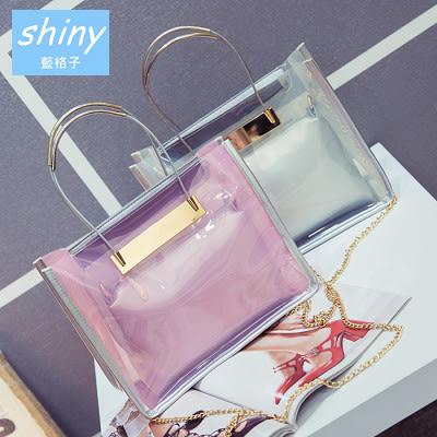 【P119】shiny藍格子-實用時尚.新款簡約沙灘手提單肩斜挎透明果凍包