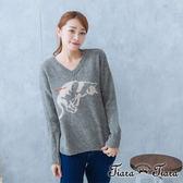 【Tiara Tiara】可愛貓咪撒嬌羊毛針織衫(灰)