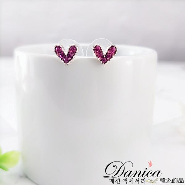 現貨不用等 韓國少女心氣質甜美小愛心水鑽925銀針耳環 S93132 批發價 Danica 韓系飾品 韓國連線