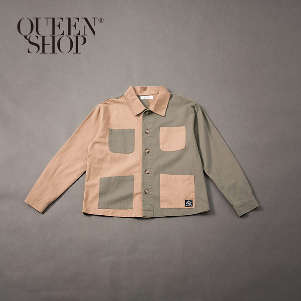 Queen Shop【01023712】男裝 撞色拼接多口袋襯衫外套 M/L*現+預*