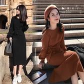 【QV3281】魔衣子-純色圓領長袖綁帶針織連身洋裝