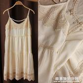 日系森女文藝甜美米白雪紡吊帶連身裙蕾絲孕婦連身裙寬鬆