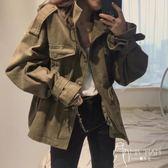 外套  2018秋季新款韓國復古百搭工裝寬松休閑口袋收腰風衣外套女
