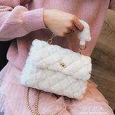 手提包 上新毛毛小包包女新款潮韓版百搭斜背包菱格錬條包時尚手提包 完美情人
