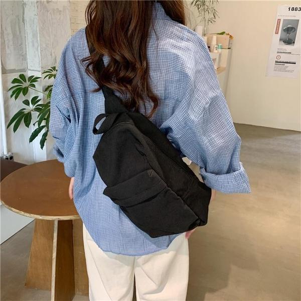 包包2021新款潮胸包帆布包女休閒百搭書包側背小背包斜背包小掛包 童趣屋 交換禮物