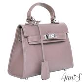 Ann'S經典時裝配件-迷你凱莉包質感全真皮-紫