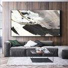 手繪油畫背景牆壁畫浪花抽象走廊黑白玄關客廳裝飾畫沙發大副掛畫 QM 依凡卡時尚