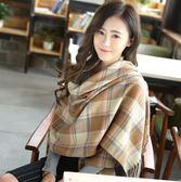韓版百搭披肩兩用薄款針織英倫格子圍巾【美麗間】
