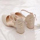 包頭涼鞋女鞋新款春款夏一字帶高跟鞋仙女風單鞋粗跟中跟百搭 快速出貨