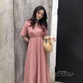 夏季 韓版新款百搭溫柔可愛氣質長裙學生女V領格子短袖洋裝