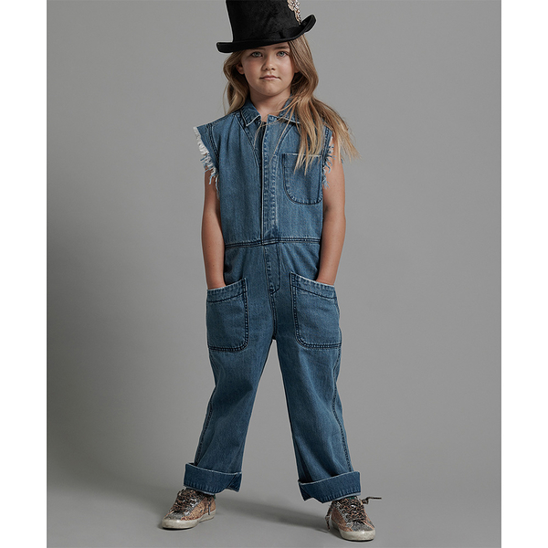 ONETEASPOON KIDS RANCH CAMP OVERALLS  無袖連身長褲-藍(童)