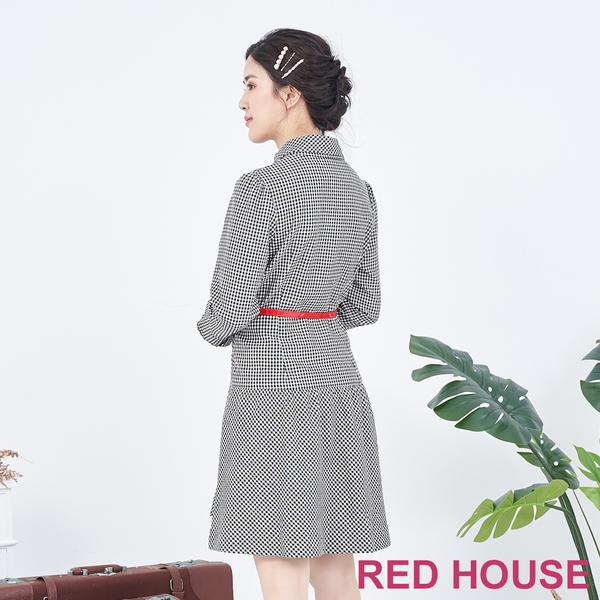 RED HOUSE-蕾赫斯-格紋襯衫洋裝(黑色)