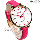 MANGO LOGO時刻設計腕錶 美學設計 女錶 粉紅x金色 防水手錶 真皮皮革錶帶 粉紅 桃紅 MA6672L-16