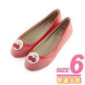 6號-超零碼Paidal 甜美水果包扣芭蕾舞鞋-紅