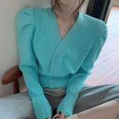 促銷九五折 實秋季新款針織外套女開衫泡泡袖V領毛衣寬松外穿