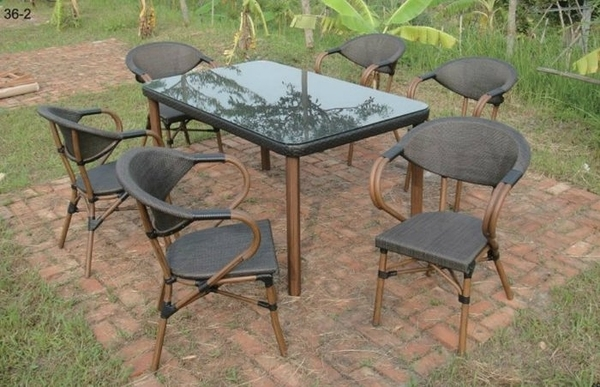 【南洋風休閒傢俱】戶外休閒桌椅系列-鋁布休閒餐桌椅組 餐桌椅組 適 室內 餐廳 民宿(L36-2 HT-704)